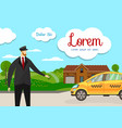 friendly taxi driver at car transportation service vector image