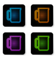 glowing neon coffee cup flat icon isolated on vector image vector image