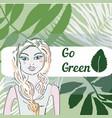 green world in dream of pretty girl- grass vector image