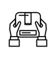 hand lifting box packing postal service vector image vector image