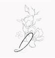 handwritten line drawing floral logo monogram q vector image vector image