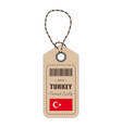 hang tag made in turkey with flag icon isolated on vector image vector image