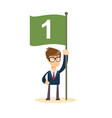 happy businessman with number one flag start up vector image vector image