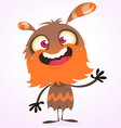 Happy cartoon orange and fluffy monster vector image vector image