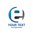 initial letter e logo template colored grey blue vector image