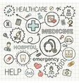 Medical hand draw integrated icons set vector image vector image