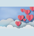 paper art of red balloon heart on blue sky vector image