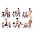 parents with children walk set moms and vector image