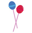 printblue and pink lollipops on white background vector image