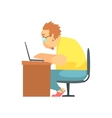 Programmer Working From Home Funny Character