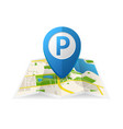 realistic detailed 3d parking blue tag pin for app vector image vector image