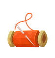 reel with red thread and needle isolated on white vector image vector image