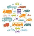 Round Card with Retro Flat Cars and Vehicles vector image vector image