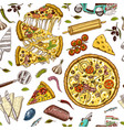 seamless pattern pizza with cheese texture vector image