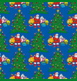 seamless pattern with christmas tree and santa vector image vector image