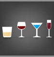 set alcohol glasses icons flat design vector image