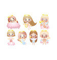 set cute beautiful angel girls vector image vector image