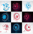 set of 3d abstract backgrounds created in bauhaus vector image vector image