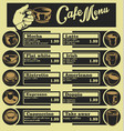 set of coffee menu with a cups of coffee drinks 4 vector image vector image