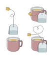 set of cup of tea with bag vector image vector image