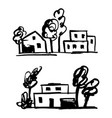 set private houses hand drawn vector image vector image