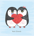 sketch loving penguins with scratched heart vector image vector image
