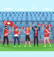 sport supporters soccer team happy fans group vector image vector image