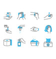 toilet paper and hand hygiene icon set half color vector image vector image