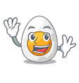 waving character hard boiled egg ready to eat vector image vector image