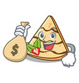 with money bag crepe character cartoon style vector image