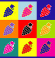 grapes sign pop-art style vector image
