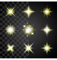 Transparent stars and sparkles icons set vector image