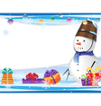 Cute snowman in a blue scarf vector image