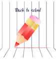 abstract back to school background with red pencil vector image