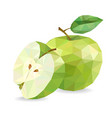 apple and slice low poly vector image vector image