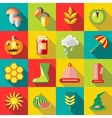 Autumn icons set flat style vector image vector image