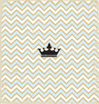 Blue zig zag pattern background vintage with Crown vector image vector image