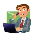 Brown-haired men with phone and laptop vector image vector image