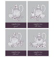 bundle of gorgeous outline drawings of teapot cup vector image vector image