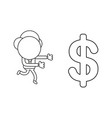 businessman character running to dollar symbol vector image vector image