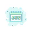 cartoon colored sunday calendar page icon in vector image vector image