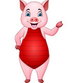 cartoon pig in a swimsuit vector image vector image