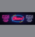 cheers neon sign beer party celebration vector image vector image