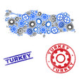 cog collage turkey map and grunge stamps