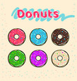 colorful set of glazed donuts with caramel and vector image vector image