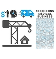 Construction Crane Icon with 1000 Medical Business vector image