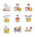 delivery yellow color icons set plane drone vector image vector image