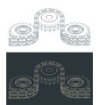 double chain drive drawings vector image vector image