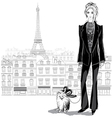 Fashion woman model in pantsuit with a little dog vector image