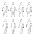 Full length front back man outlined silhouette vector image vector image